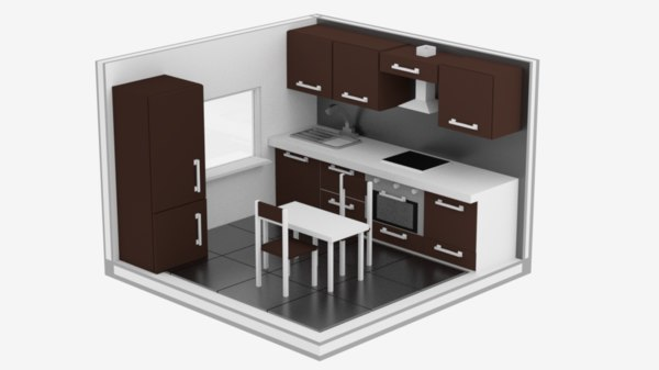 isometric kitchen 3D model