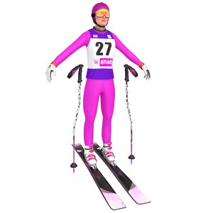 3D female skier ski model