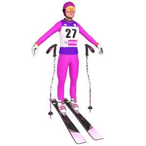 3D female skier ski model