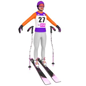 3D female skier woman 3