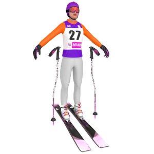 3D female skier woman 3