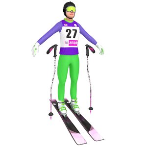female skier woman ski 3D model