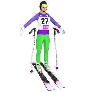 female skier woman ski 3D model