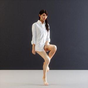 girl wearing boyfriend s 3D model