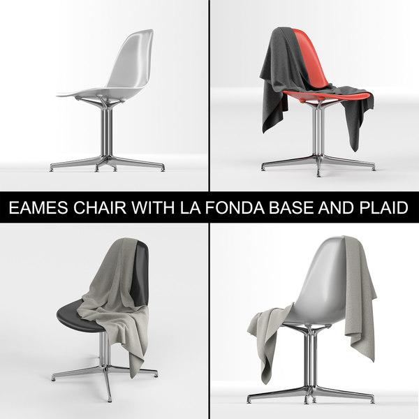 Charles & Ray Eames design modern plastic chair with La Fonda base and plaid (cloth)