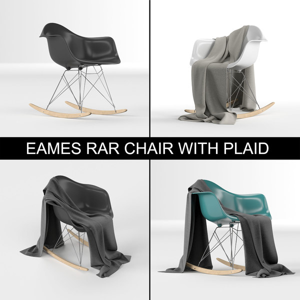 High poly Charles & Ray Eames design plastic RAR rocking armchair with plaid (cloth)