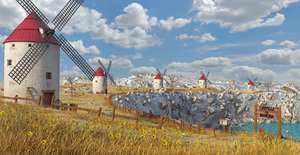 3D landscape windmill spanish model