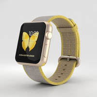 Apple Watch Series 2 38mm Gold Aluminum Case Yellow Light Gray Woven Nylon