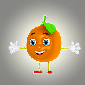 3d cartoon orange model