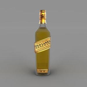 3D gold label bottle model