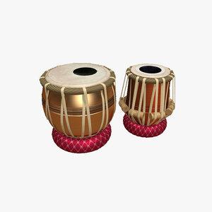 tabla indian traditional 3D model