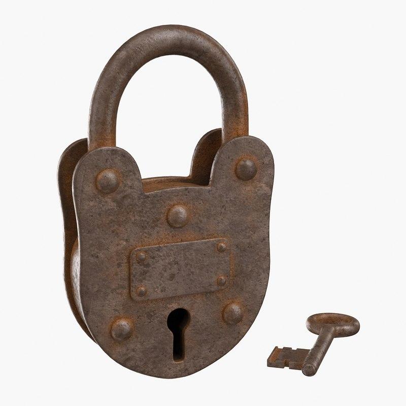 3d model of old lock