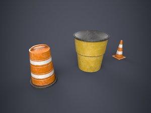 traffic barrels cone 3d x