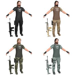 3D model pack mercenary soldier rifle