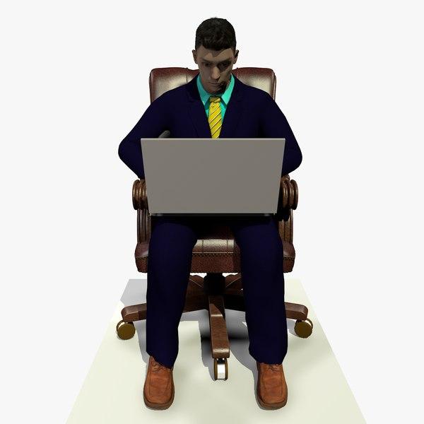 3D model male business man sitting