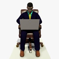 3D model male business man sitting