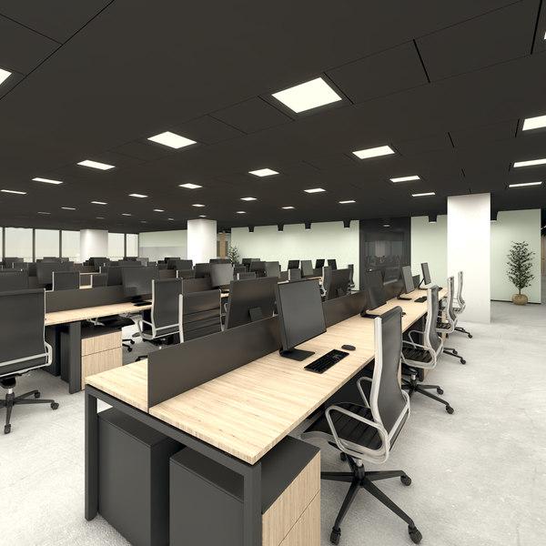 modern office interior space 3D