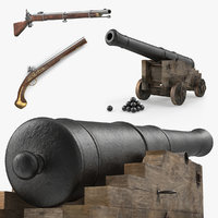 Pirate Weapons 3D Models Collection