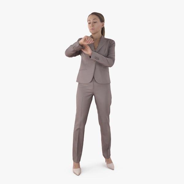 3D businesswoman check time human body model