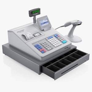 3d cash register sharp er-a347 model