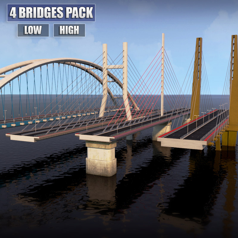 pack suspended bridges 3d model