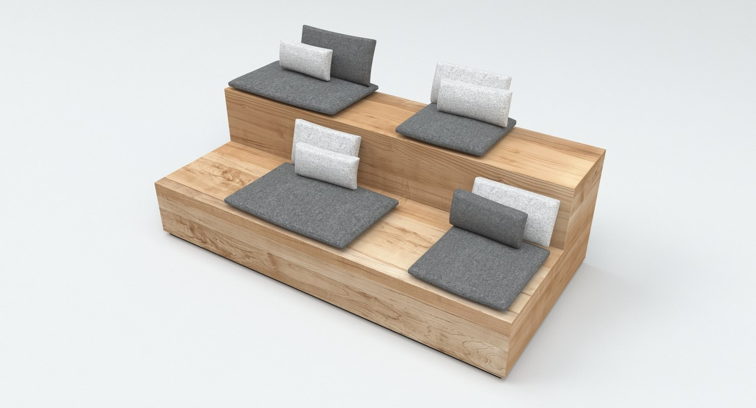 3D model wooden bench seating