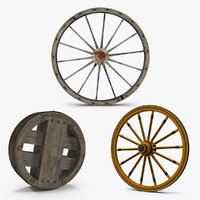 Antique Wagon Wheels 3D Models Collection 2