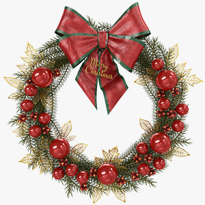 3D model traditional christmas wreath pbr
