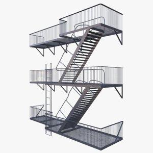 escape ladder buildings 3d model