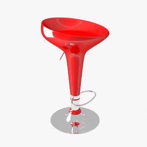 red bar stool 3d model