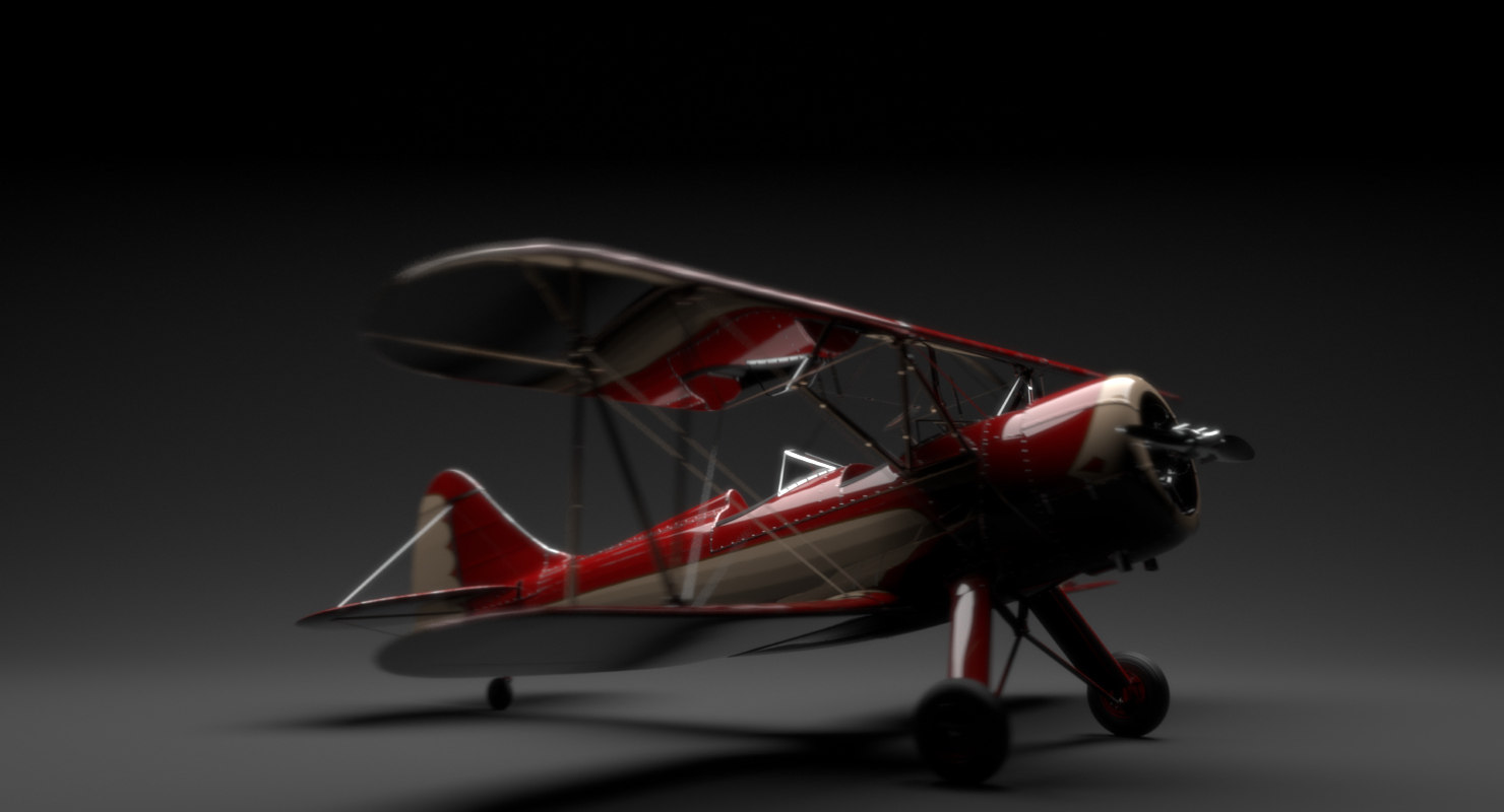 waco upf-7 biplane 3d ma