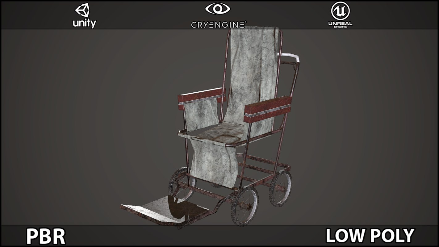 Wheelchair PBR Low Poly
