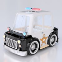 cartoon police car interior 3d model