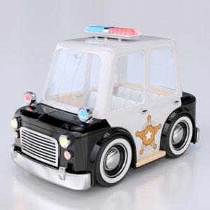 cartoon police car interior 3d model