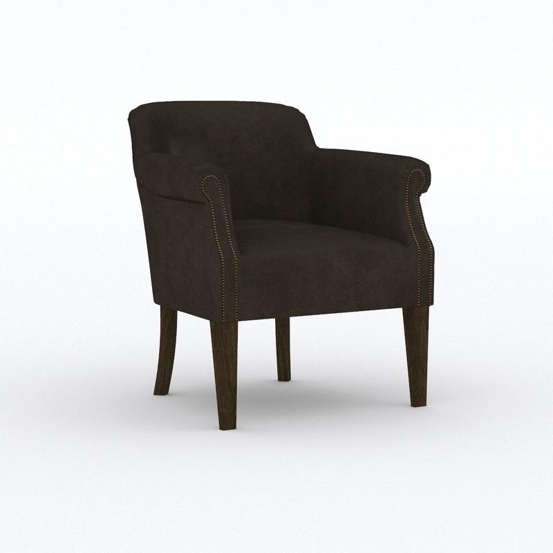 armchair leather sofa chair 3D