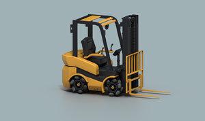 electric forklift mecanum wheels 3D model