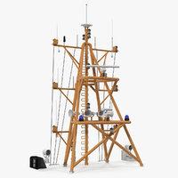 3D model ship mast radar scanner