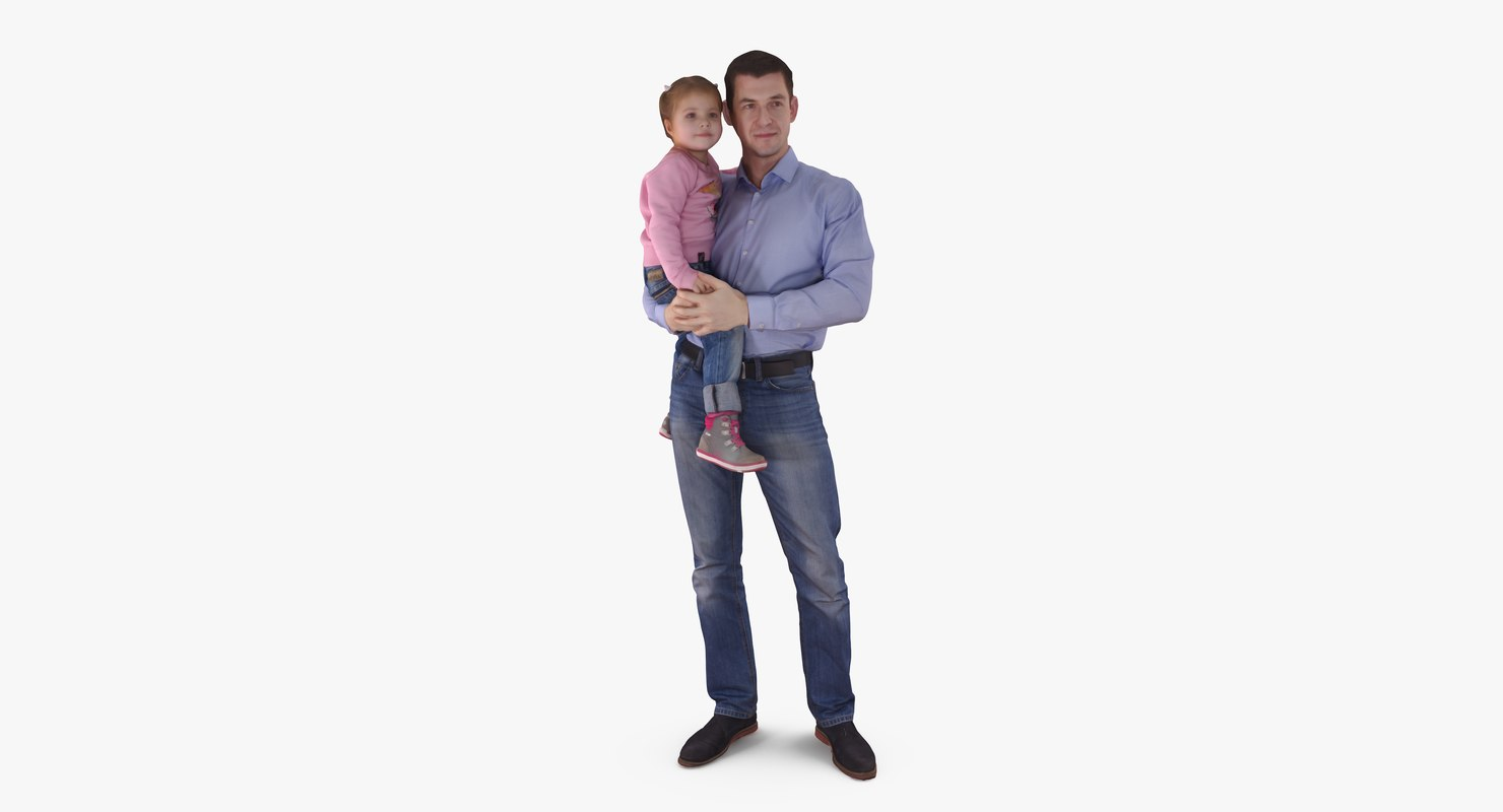 3d father baby arms people human