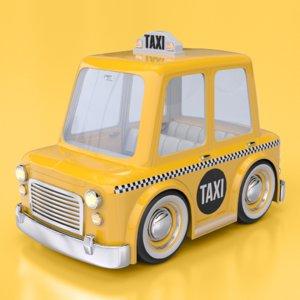 cartoon nyc taxi cab obj