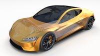 tesla roadster 2020 interior 3D