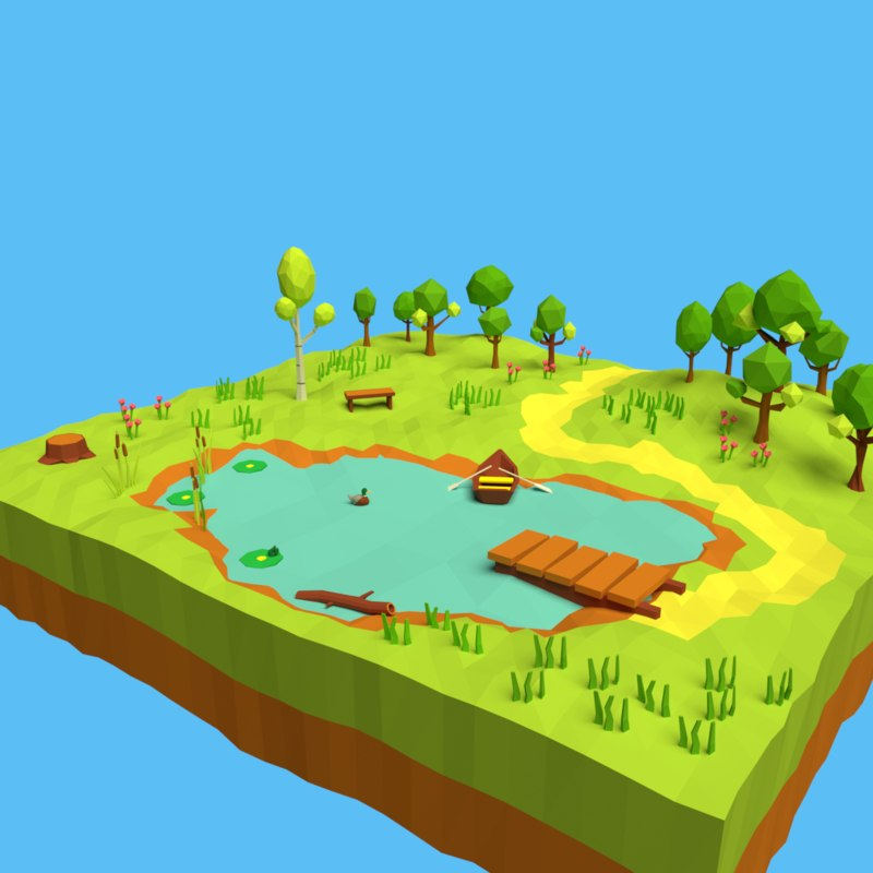 3D model cartoon forest pond