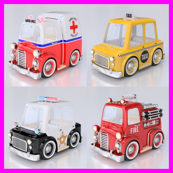 cartoon car pack 01 3d model