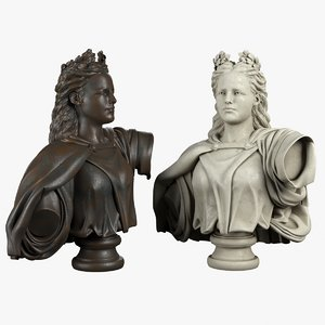 3d model of lady bust neoclassical