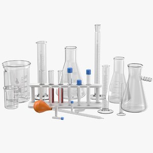 3d model set lab glassware beakers