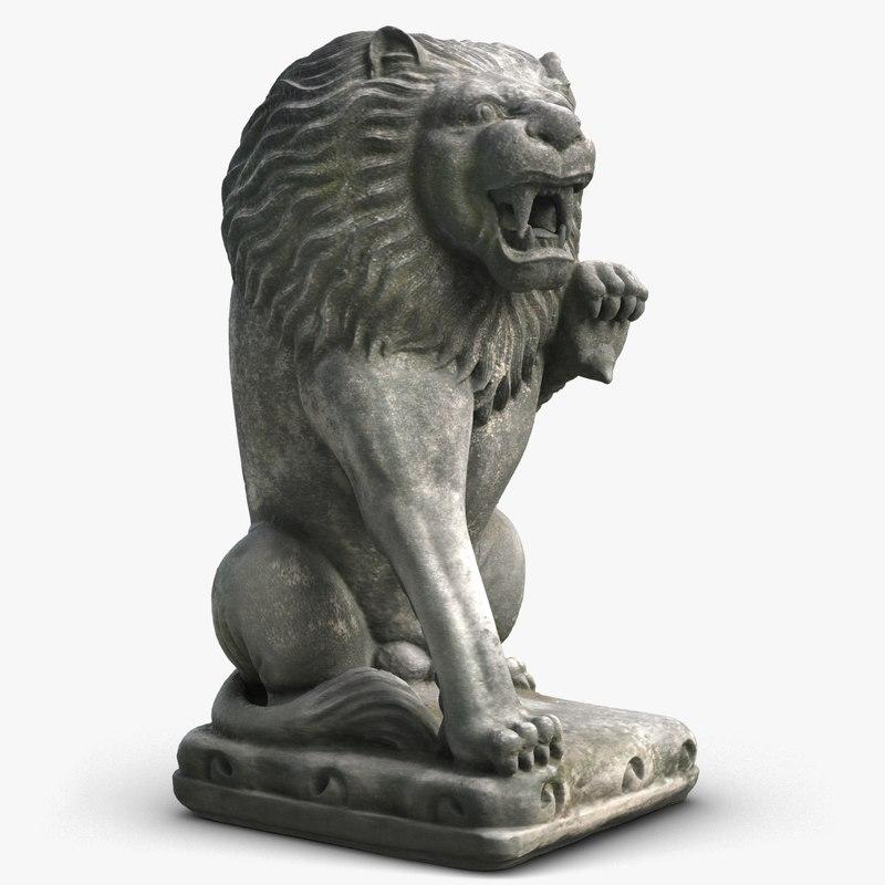 sitting lion sculpture model