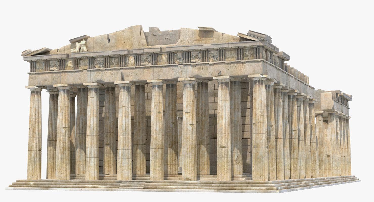 parthenon temple greek 3d max