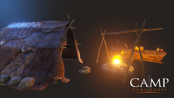 3d camp - props cooking pot model