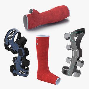knee braces orthopedic casts 3D model