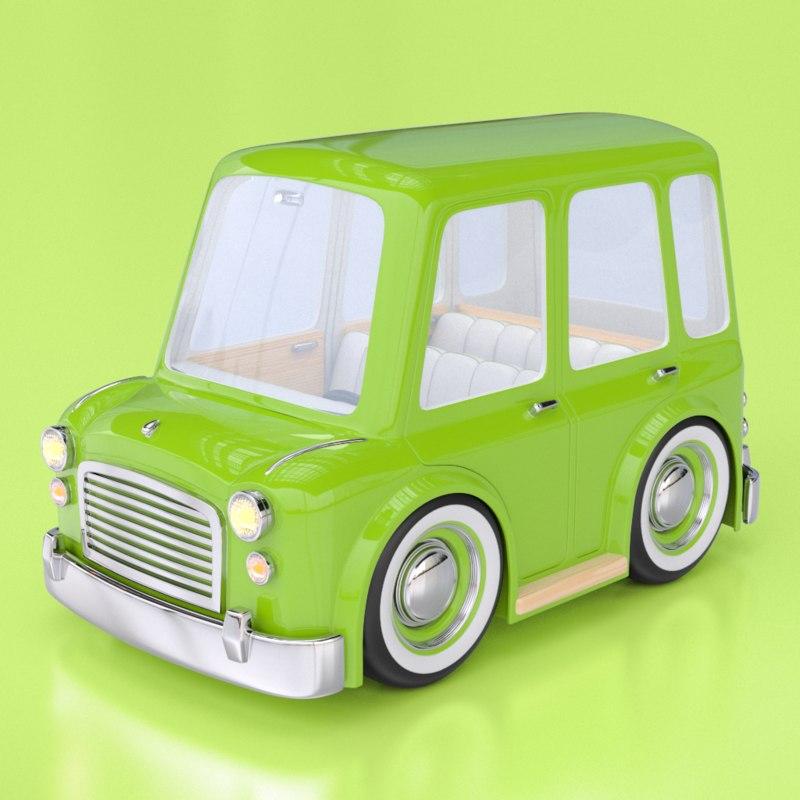 cartoon car station wagon 3d model