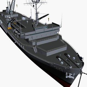 navy submarine tender vessels 3d model